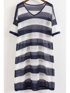 Striped Side Vent Knit Dress - Purplish Blue