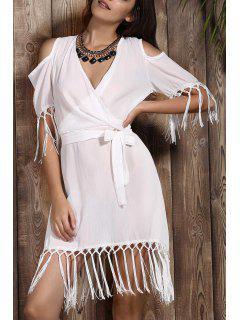 Tassels V Neck Short Sleeve Cold Shoulder Dress - Off-white Xl