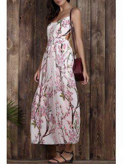 Impresión Floral Del Tirante De Espagueti Vestido Maxi Sin Respaldo - Blanco L