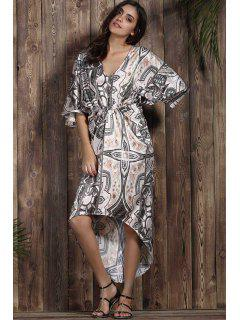 Retro Printed V Neck Bat-Wing Sleeve Dress - Gray L