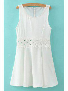 Lace Spliced Round Collar Sleeveless Mini Dress - White S