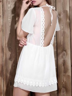 V Neck Backless Lace Insert Dress - White S