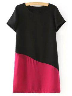 Color Block Short Sleeve Round Collar T-Shirt Dress - Red L