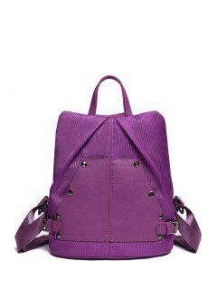 Splicing Rivet Solid Color Satchel - Purple