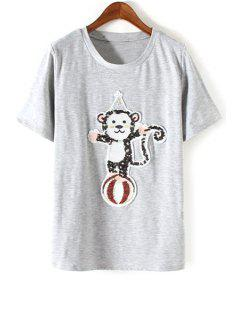 Monkey Sequined Round Neck Short Sleeve T-Shirt - Gray S