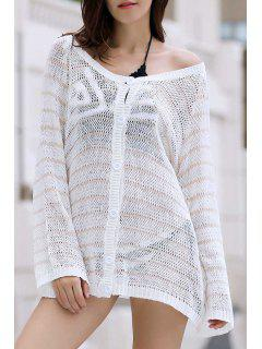 Vrac Solide Ronde Couleur Neck Bat-Wing Manches Crochet Cover Up - Blanc