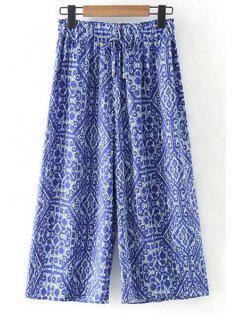 Impresos Pantalones De Pierna Ancha Cintura Elástico - Azul L