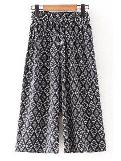 Argyle Print Elastic Waist Wide Leg Pants - Black L