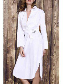 Bowknot Solid Color Turn-Down Collar Long Sleeve Dress - White M