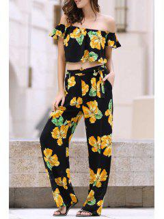 Cold Shoulder Ruffle Crop Top And Palazzo Pants Twinset - Black L