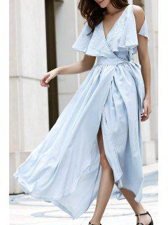 High Slit Flounce Ruffles Plunging Neck Sleeveless Dress - Light Blue S