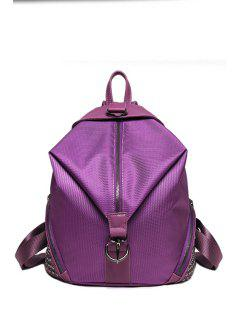 Solid Color Splicing Rivet Satchel - Purple