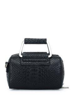 Solid Color Crocodile Print Tote Bag - Black