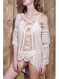 Hollow Out Round Neck 3/4 Sleeve Crochet Cover Up - Gray
