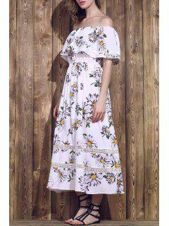 Flower Print Waisted Convertible Dress - White M