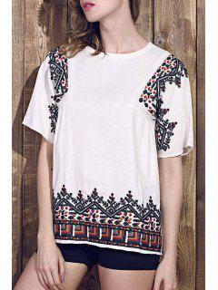 Retro Embroidered Jewel Neck Short Sleeve T-Shirt - White L