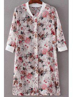 Floral Print Stand Neck 3/4 Sleeve Chiffon Shirt - White