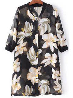 Flower Print Stand Neck 3/4 Sleeve Chiffon Shirt - Black