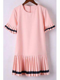 Pleat Spliced Round Collar Short Sleeve Dress - Pink S