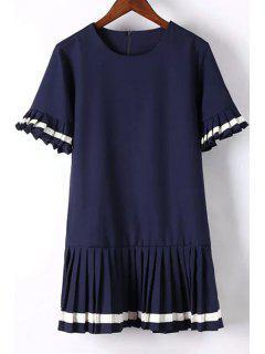 Pleat Spliced Round Collar Short Sleeve Dress - Purplish Blue L