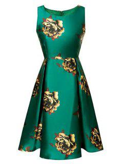 Floral Print Waisted Round Collar Sleeveless Dress - Green S