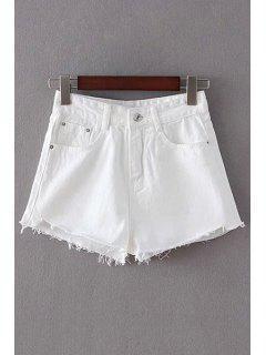 White Fitting High Waist Shorts - White Xl