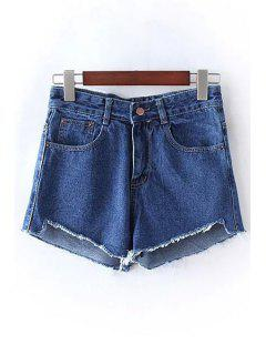 Solid Color Bleach Wash High Waist Denim Shorts - Deep Blue Xl