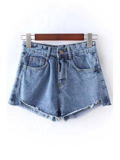 Solid Color Bleach Wash High Waist Denim Shorts - Light Blue Xl