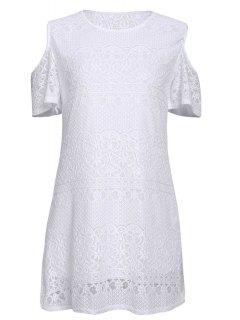 Cordón Blanco Con El Vestido De Hombro - Blanco S