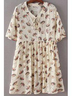 Drawstring Printed Stand Neck Short Sleeve Dress - Off-white