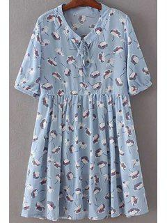 Drawstring Printed Stand Neck Short Sleeve Dress - Light Blue