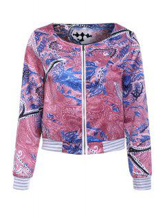 Colorful Printed Long Sleeve Jacket - Xl