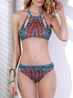 Halterneck Ethnic Print Bikini Set - Xl