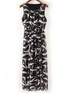 Crane Print Round Neck Sleeveless Maxi Dress - Black L