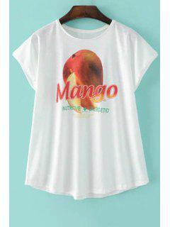 Mango Impresión Blanca De La Camiseta - Blanco Xl