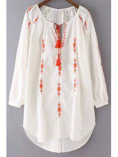 Embroidered Scoop Neck 3/4 Sleeve Dress - White S
