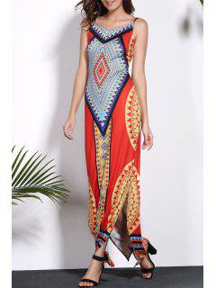 Geometric Print Spaghetti Strap Backless Maxi Dress - Xl