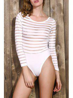 Solid Color See-Through Round Neck Long Sleeve Bodysuit - White M