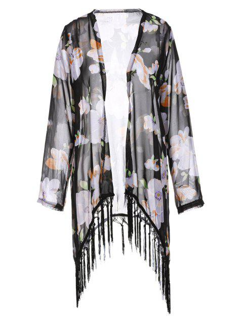Collarless Tassel Splicing floral de manga larga Kimono - Negro M Mobile