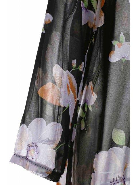 trendy Collarless Tassel Splicing Floral Long Sleeve Kimono - BLACK M Mobile