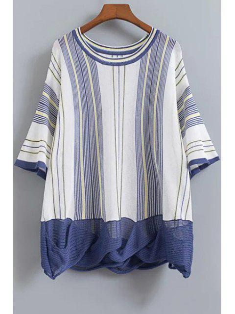 fashion Striped Dropped Shoulder Knitwear - CADETBLUE ONE SIZE(FIT SIZE XS TO M) Mobile