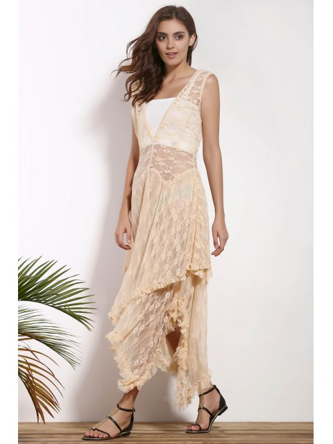 online Irregular Hem Lace Prom Dress - APRICOT M Mobile