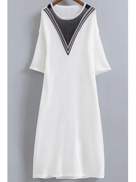 trendy V-Shaped Stripe Knitted Dress - WHITE ONE SIZE(FIT SIZE XS TO M) Mobile