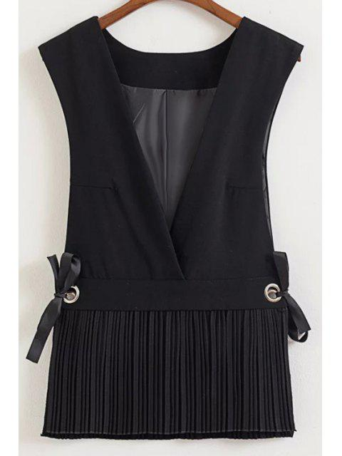 women's Low Cut Pleated Hem Waistcoat - BLACK M Mobile