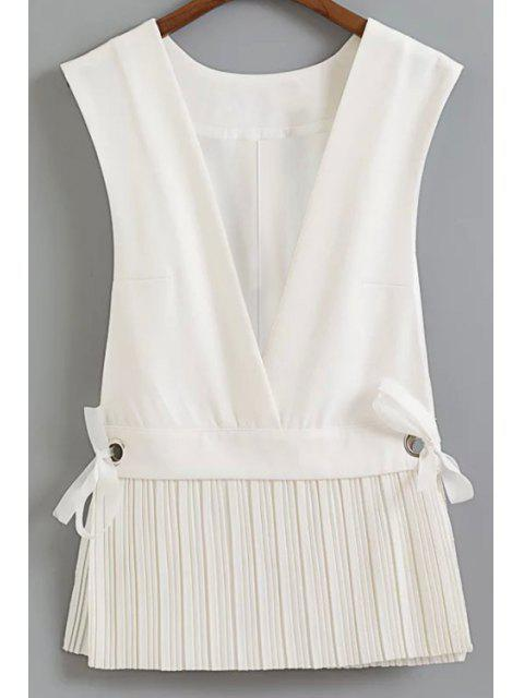 womens Low Cut Pleated Hem Waistcoat - WHITE L Mobile