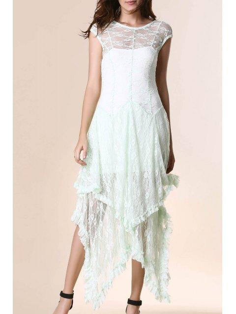 affordable Irregular Hem Lace Prom Dress - LIGHT GREEN M Mobile