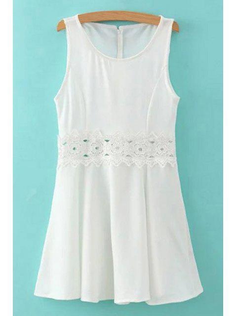 hot Lace Spliced Round Collar Sleeveless Mini Dress - WHITE S Mobile