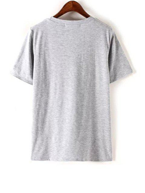 shops Monkey Sequined Round Neck Short Sleeve T-Shirt - GRAY S Mobile