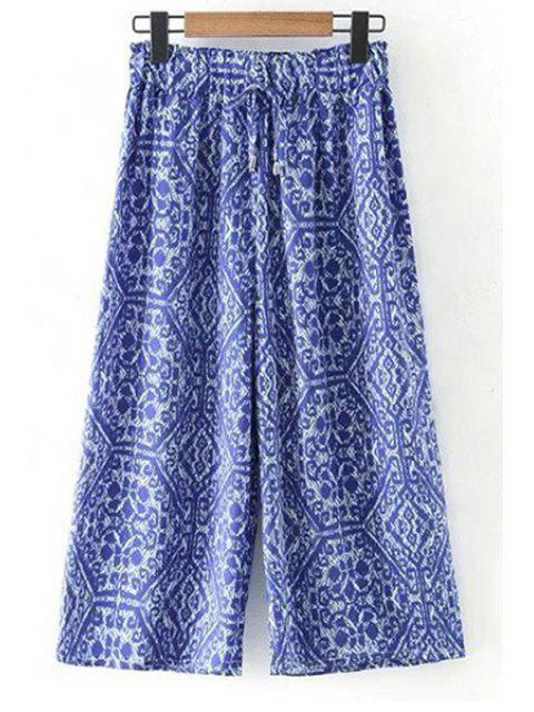 shop Printed Elastic Waist Wide Leg Pants - BLUE M Mobile