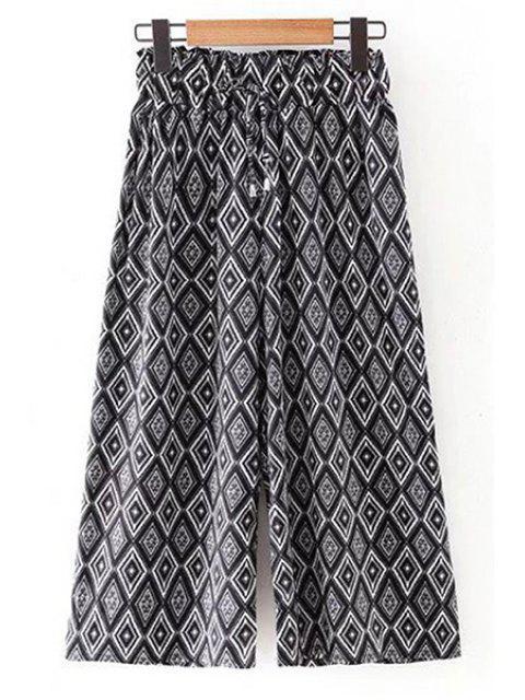 Pantalon Imprimé Losange à Taille élastique à Jambes Larges - Noir L Mobile